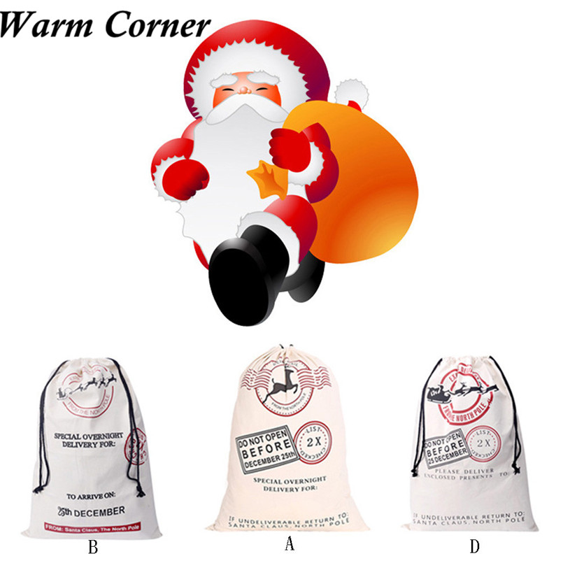 GIft Bags 1PC 3 Styles New High Quality Drawstring Storage Bag Christams Stocking Gift Bag Decorations Free Shipping Oct 19