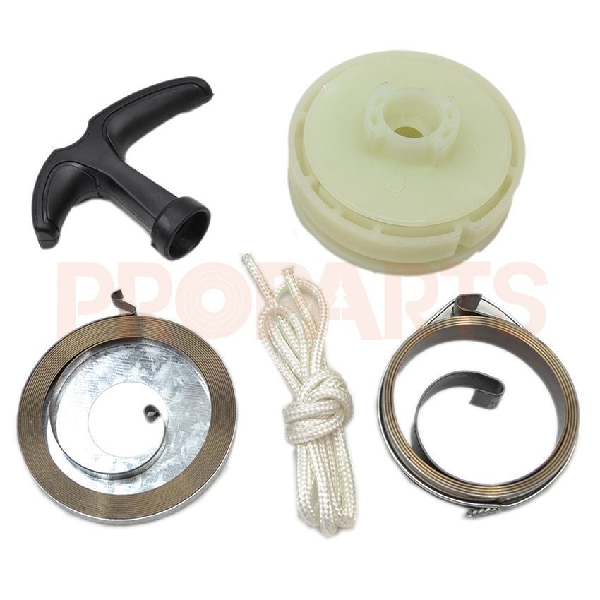 2 Pawl Easy Starter Pulley Handle Spring Rope Fit For 45CC 52CC 58CC 4500 5200 5800 Chainsaw Replacement Parts recoil starter handle grip for all chainsaw brush cutter and spare parts 2500 3800 4500 5200 5800 6200