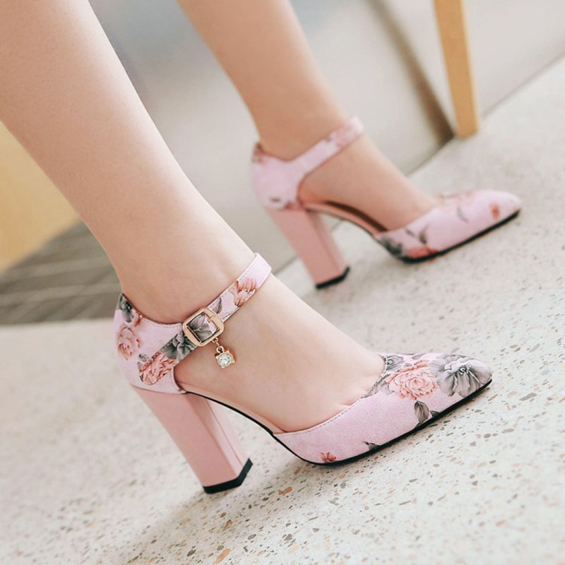 2018 Women Pumps High Heels Woman Shoes Brand Spring Pointed Toe Ankle Strap Pumps Flower Thick Heel Wedding Shoes Plus Size 45 6