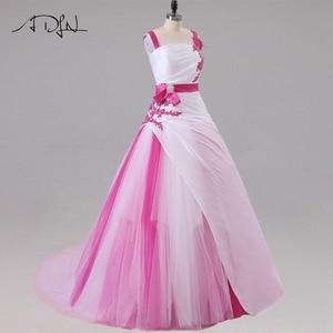 Image 4 - Jiayigong 새로운 도착 웨딩 드레스 민소매 페르시 아플리케 a 라인 tulle과 Taffeta 웨딩 드레스 신부 드레스
