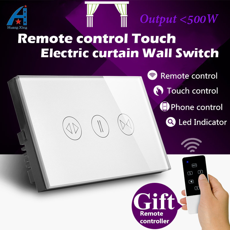 AU/US Standard Luxury electric curtain Switch, with led indicator Touch screen remote control wall switch, Crystal Glass Panel 2017 smart home crystal glass panel wall switch wireless remote light switch us 1 gang wall light touch switch with controller