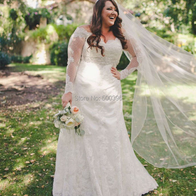 Plus size elegant sheer long sleeves wedding dress 2016 for Plus size trumpet wedding dress with sleeves