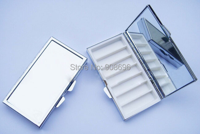 Wholesale 100PCS Blank Rectangle Pill Boxes Metal Pill Container 7 Grids Mini Portable Travel Case DHL