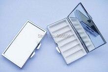 Atacado 100 PCS Em Branco Retângulo Caixas De Comprimidos De Metal Pill Container 7 Grids Mini Portátil de Viagem Caso DHL Frete Grátis