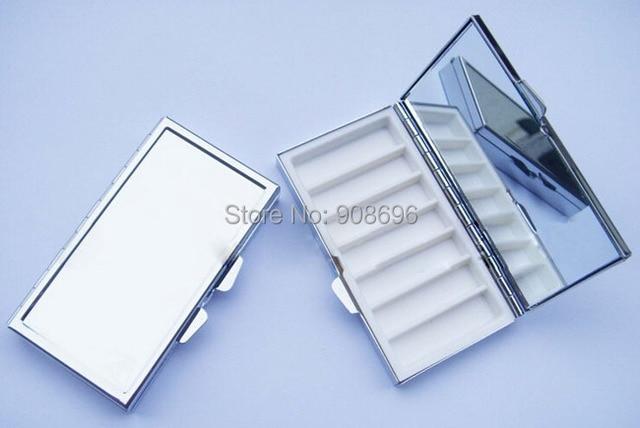 Venta al por mayor 100 piezas en blanco rectángulo píldora cajas de Metal píldora contenedor 7 redes Mini de viaje portátil caso. DHL envío gratis