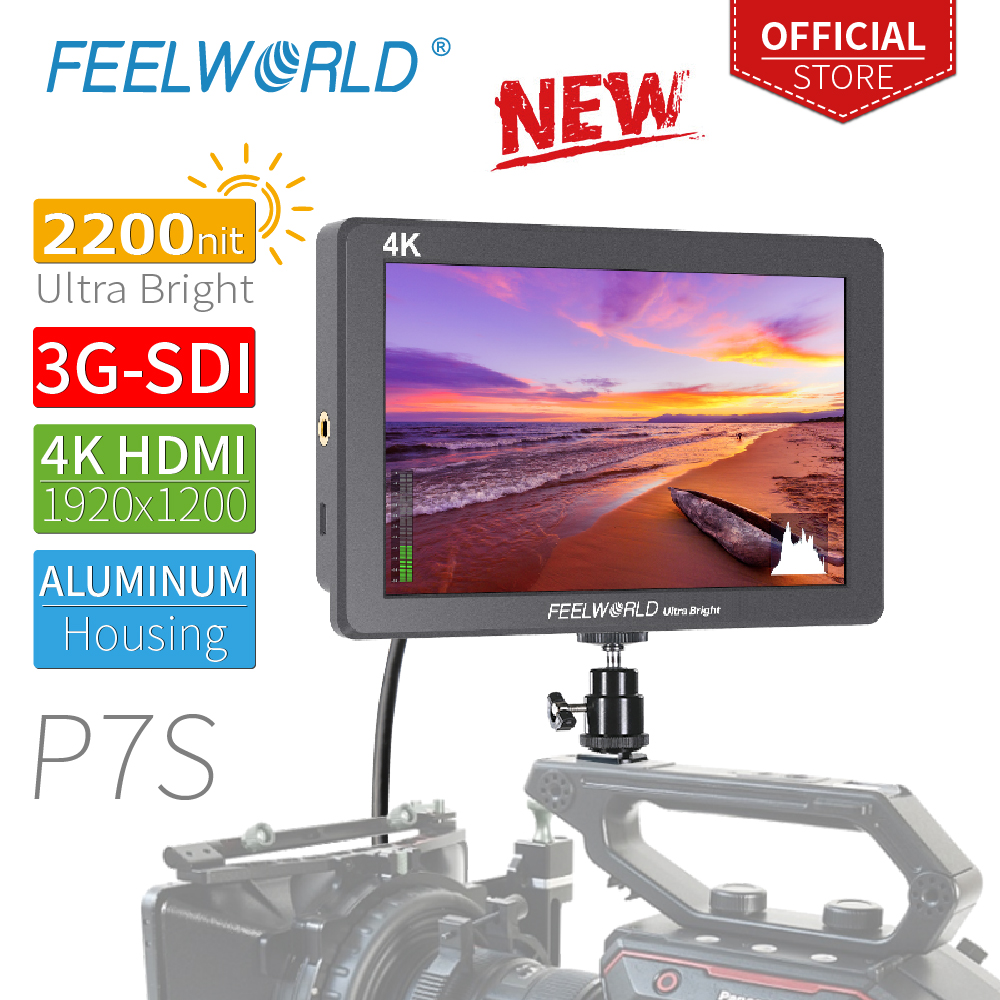 FEELWORLD P7S 7 Inch 2200nit Ultra Bright 3G-SDI On Camera Field DSLR Monitor Aluminum Design Focus Assist  4K HDMI DC Output