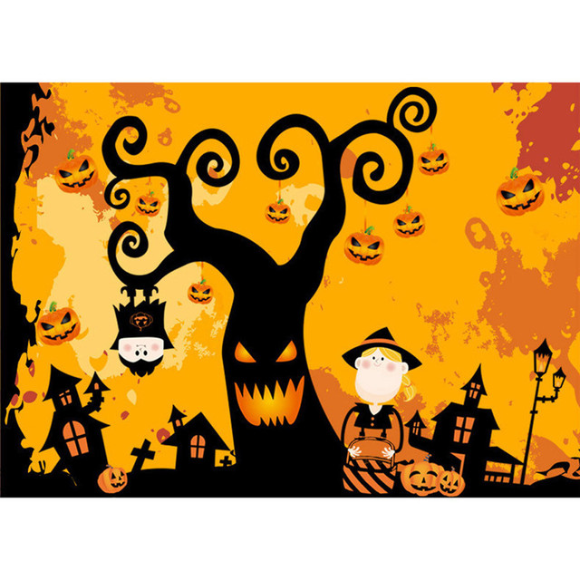 Halloween tree kids wall sticker mural kindergarten window sticker diy removable halloween decora o festa wholesale