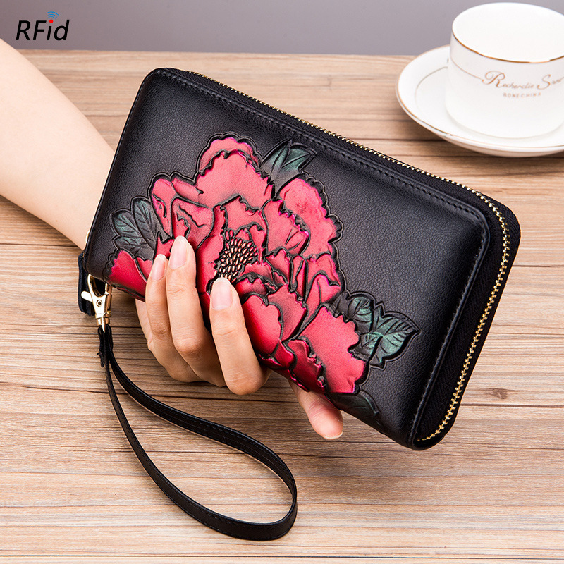 Fashion New Hand-painted Peony Organ Wallet for Women Lady Long Zipper RFID Purse Multi-card Large Capacity Cards Holder