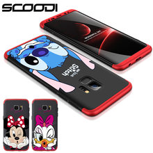 360 Full body Protect Case For Samsung Galaxy S8 S9 Plus A8 2018 Hard PC Case Cover For Galaxy Note 8 J5 J3 J7 Prime Minnie case(China)