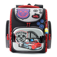 Delune 2016 Cartoon Red Racing School Bag Boys Orthopedic Backpack Children Satchel Elementary School Backpack For