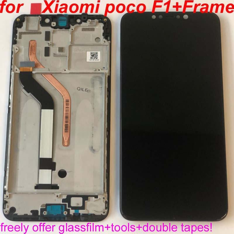 100% Original+Frame For 6.18″ Xiaomi poco F1 LCD Display Touch Screen Digitizer Assembly for xiaomi mi Pocophone F1(10 point)
