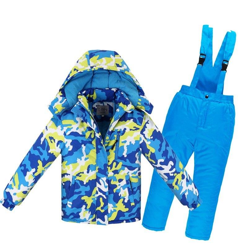 -30 Children's outdoor Ski suit Gilr / Boy snowboard suit warm and windproof waterproof winter jacket + thick bib ski pants