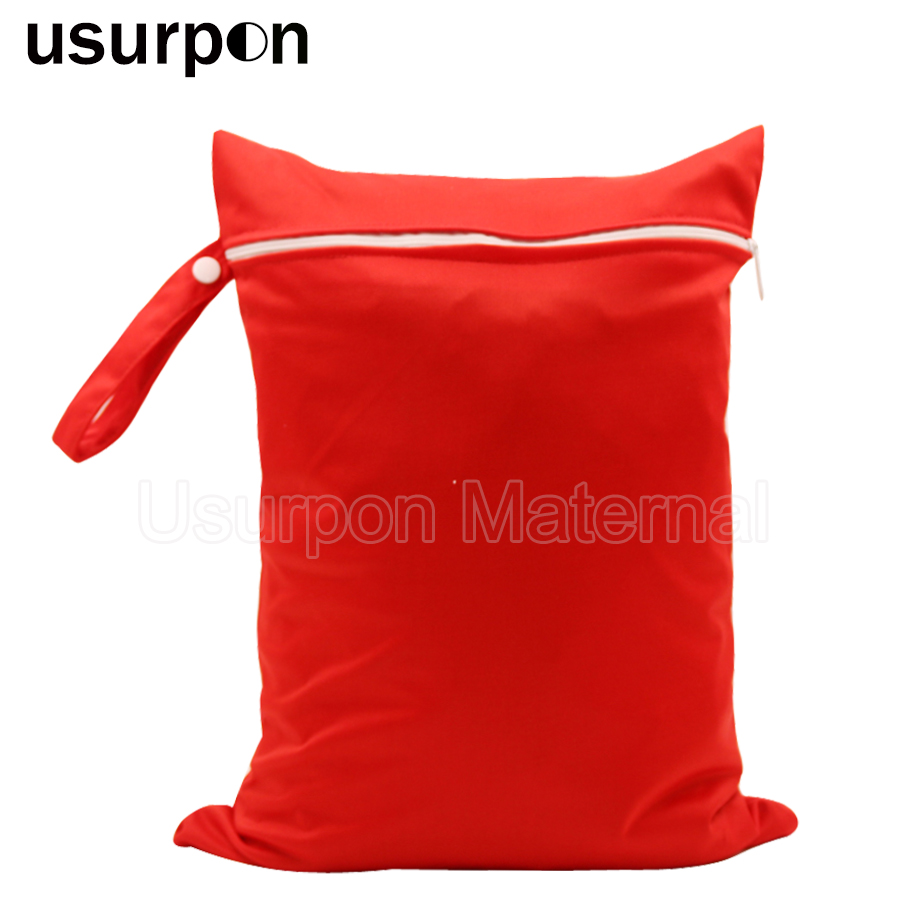 [usurpon] 1 pc 30*40cm single pocket waterproof wet bag solid color baby nappy bag with cloth handle reusable diaper bag