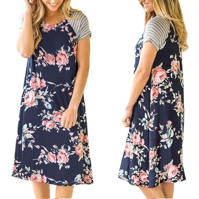 2018 Summer Women Fl Print A Line Dresses Fashion Design Strip Flowers Womens Dress