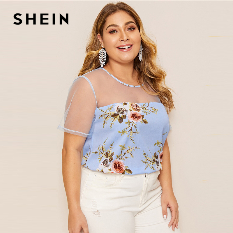 SHEIN Plus Size Blue Mesh Yoke Floral Print Top Blouse 2019 Women Summer Casual Contrast Mesh Round Neck Short Sleeve Blouses