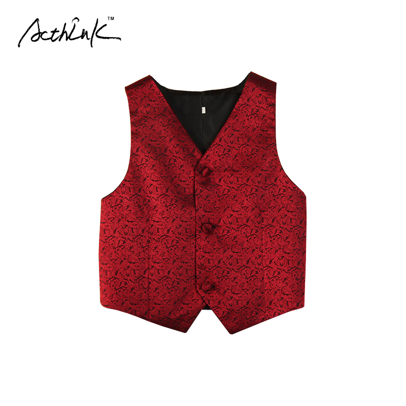 ActhInK New Kids Performance Costume Vest for Boys Brand Flower Boys Formal Wedding Waistcoat Kids Party Dancing Waistcoat,MC025