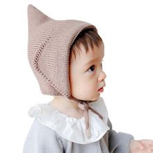Steeple Witches Knitted Hat Lace-Up Solid Color Baby Bonnet Newborn Fotografia Props