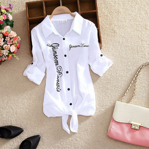 Women Shirts White Blouses Kimono Summer Top Women Letter Printed Shirts Sleeve Turn Down Collar Casual Print Cardigan DD2433