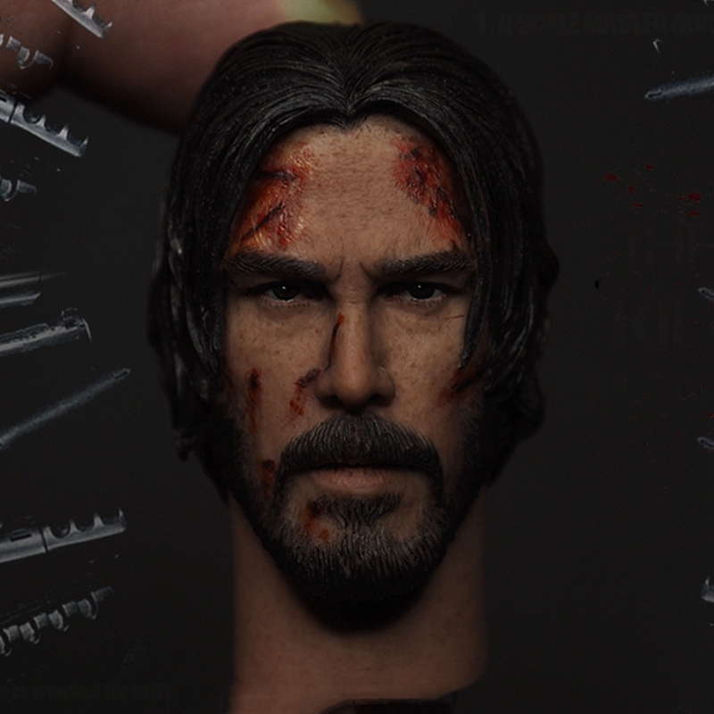1/6 The Killer John Wick Head Sculpt Keanu Reeves Head Carved Male Head Model die shi spot burning the soul of a model burns 1 6 head carved figures are base contains mask