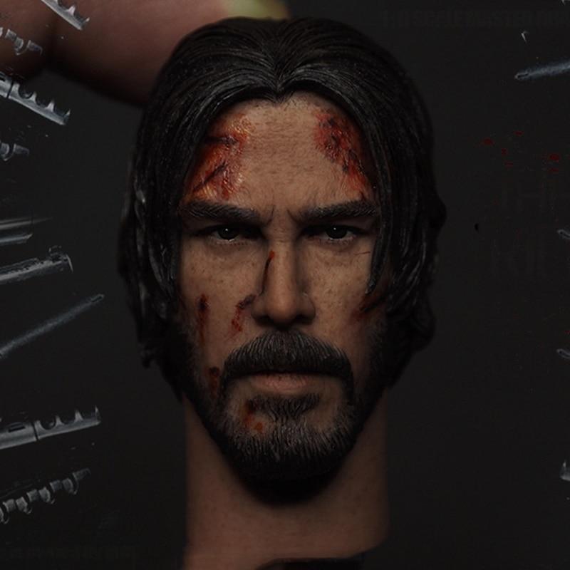 1/6 The Killer John Wick Head Sculpt Keanu Reeves Head Carved Male Head Model