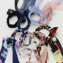 1pcs Rubber Bands For Hair Blue Pink Printing Bow Rope Scrunchie Accessories Women Ponytail