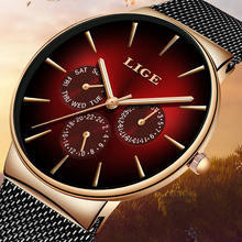 LIGE New Fashion Mens Watches Top Brand Luxury Quartz Watch Men Mesh Steel Waterproof Ultra-thin Wristwatch For Men Sport Clock цена