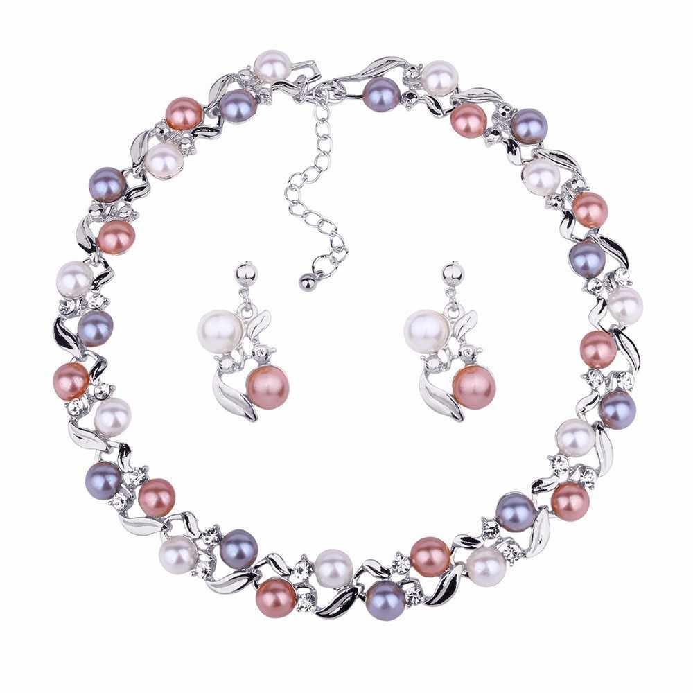 JOUVAL Elegant Wedding Engagement Jewelry Set For Women Simulated Pearl Alloy Chokers Necklace Drop Earrings Jewelry Accessories