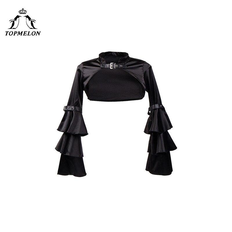 TOPMELON Steampunk Accessories Corselet   Bustier   Gothic   Corset   Women   Bustier     Corset   Long Sleeve Choker Ruffles Lace Up Tops