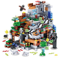 My World Building Blocks Compatible LegoINGLYS Minecrafted Mini Aminal Mountain Cave Figures Module Bricks Toys For Children