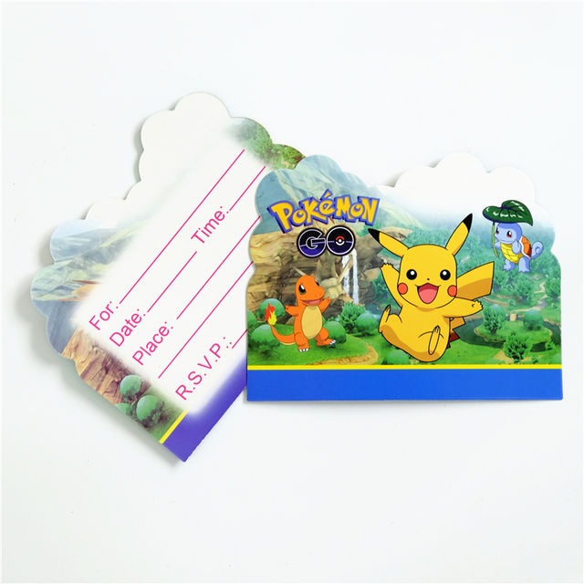 10pcs Lot Invitation Card Pokemon Go Pikachu Kids Birthday Party Supply Event Supplies Decoration Set