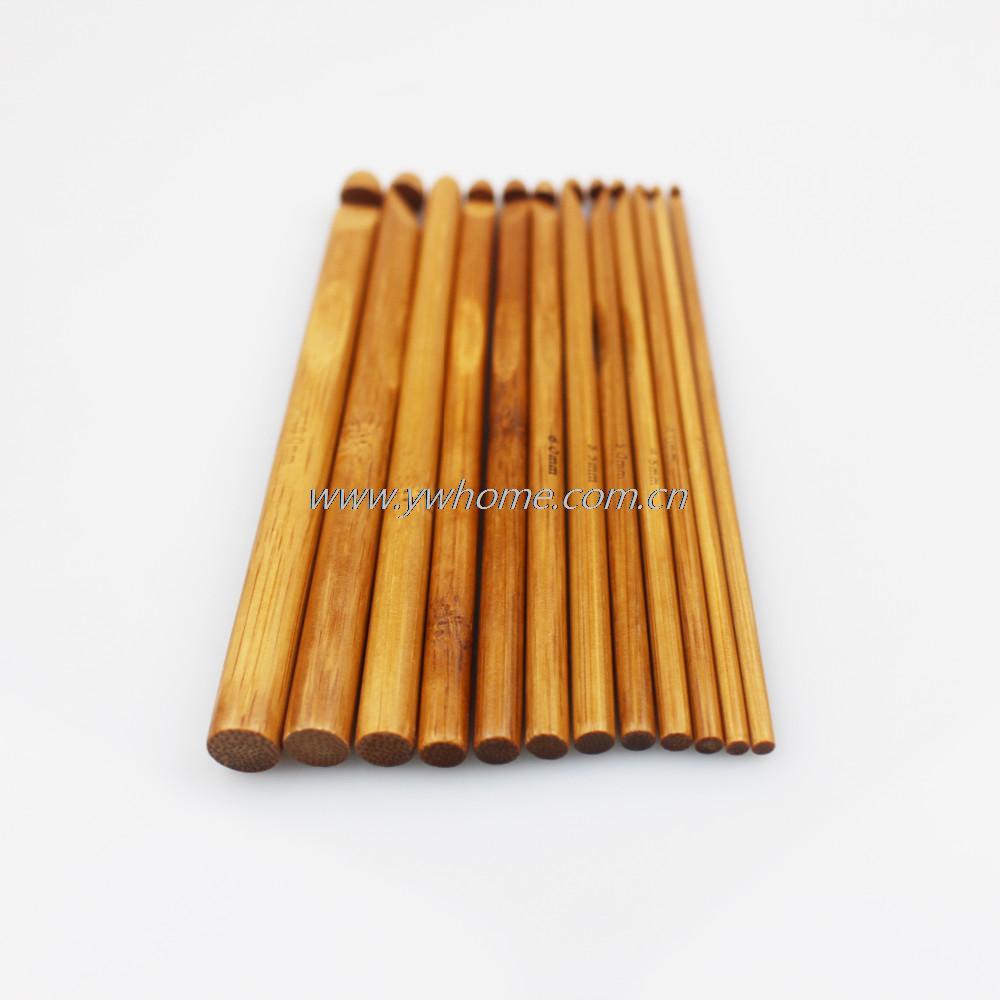 12 Sizes Carbonized Bamboo Handle Crochet Hooks Knit Weave Yarn Craft Knitting Needle