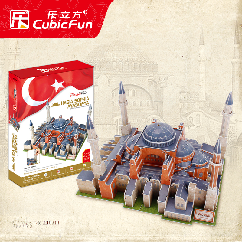 1pc CubicFun Hagia Sophia Cathedral 3D DIY jigsaw puzzle famous model building kits children handwork boy Educational toy ah st peter s basilica cubicfun 3d educational puzzle paper