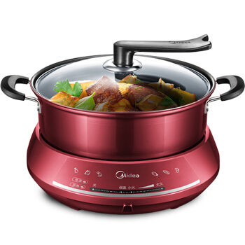 30LK1800 Red Wine Multi-purpose Spit Cooker 4.5L Home Black Grain Non-stick Hot Pot with Stand Visible Lid Electric Cooker 1300W lk1795 new multi cooker 1500w 6l double layer electric hot pot infinite firepower adjustment non stick pot with stand lid