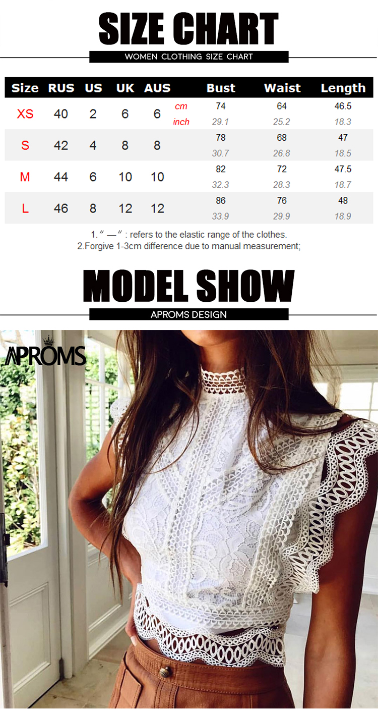 Aproms White Lace Crochet Tank Tops Women Summer Sexy High Neck Hollow out Zipper Crop Top Slim Fit Tees 2020