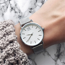 SK Watches Women 2018 Fashion Stainless Steel Mesh Band Ladies Silver Wrist Watch Unique Women Quartz Watch Luxury Female Clock купить недорого в Москве