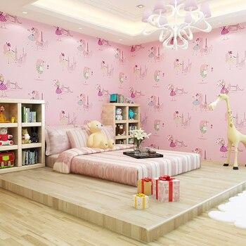 цена на Cute children's kids room non-woven wallpaper ballet princess room cartoon wallpaper Korean pink bedroom boy girl wall papers