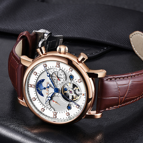 LIGE 2019 New Men Mechanical Tourbillon Luxury Fashion Brand Leather Men Sport Watches Mens Automatic Watch Relogio Masculino Islamabad