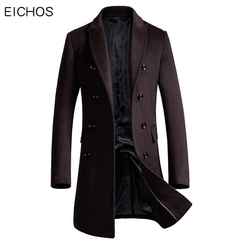 EICHOS Coréen Hommes Manteau De Mode Double Breasted Cardigan Laine Manteau Hommes Slim Long Mens Pardessus 2018 New Peacoat Manteau Homme
