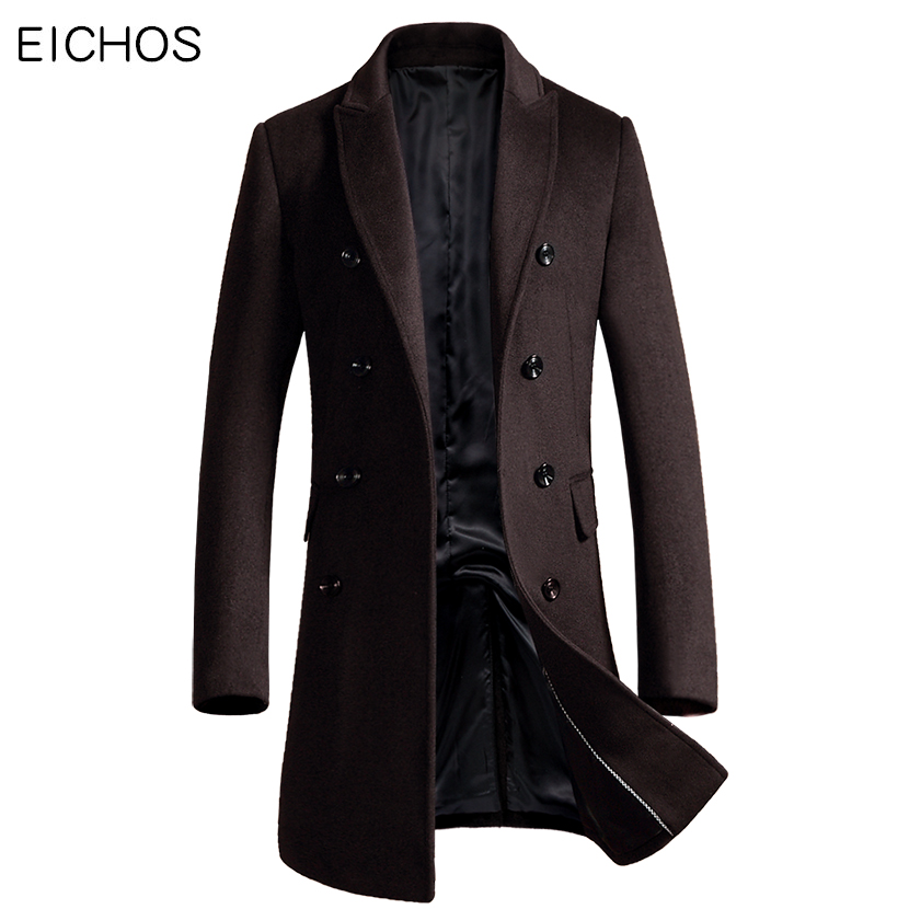 EICHOS Korean Men Coat Fashion Double Breasted Cardigan Wool Coat Men Slim Long Mens Overcoat 2018 New Peacoat Manteau Homme