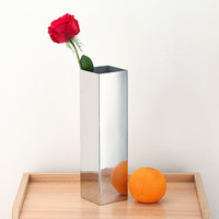 Home Decor Vases European Style Stainless Steel Square Household Decoration Small Vase