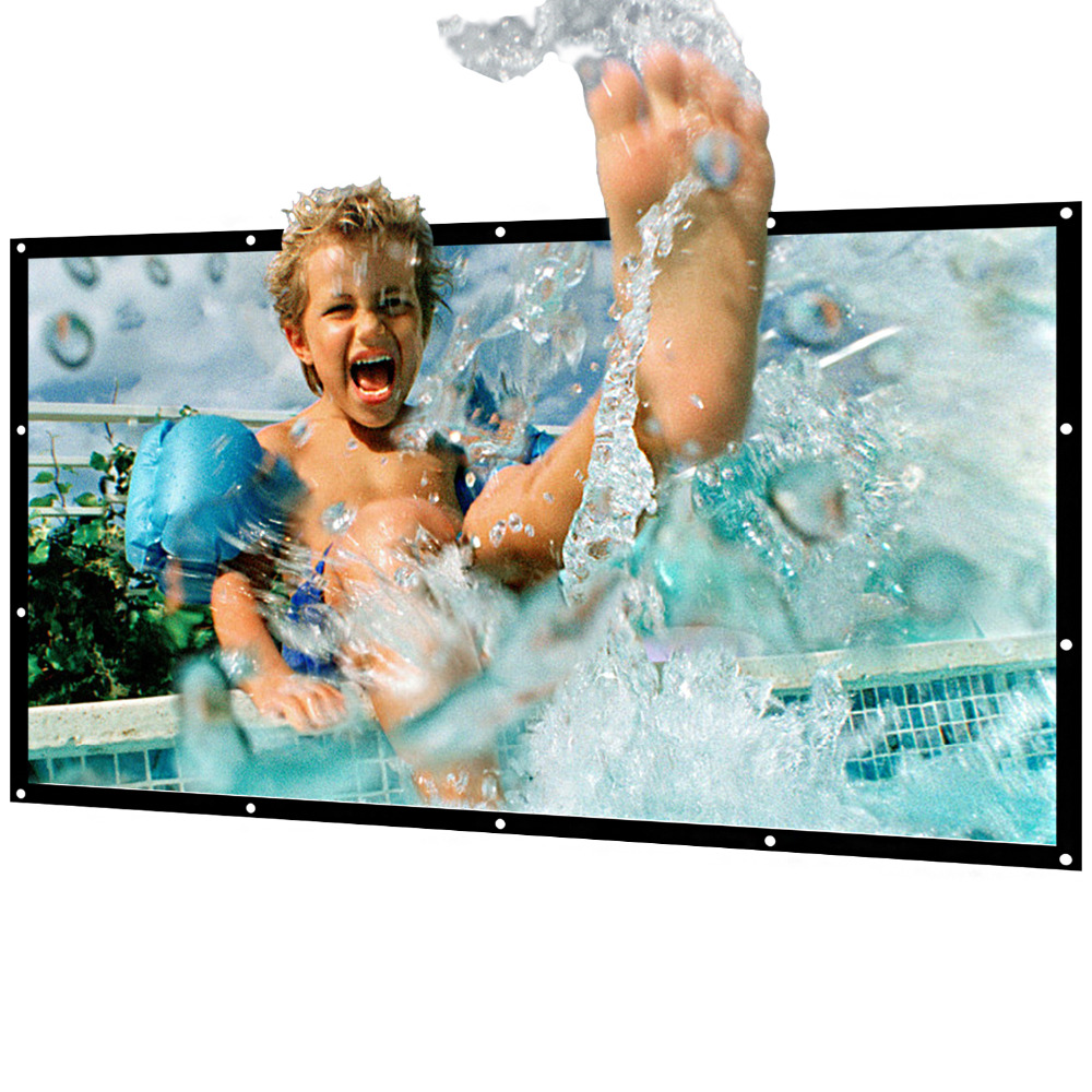 Portable Projector Screen Indoor Outdoor Lightweight Folding Movies Screen Wrinkle Free 100 inch HD Projection 3D Rear Front