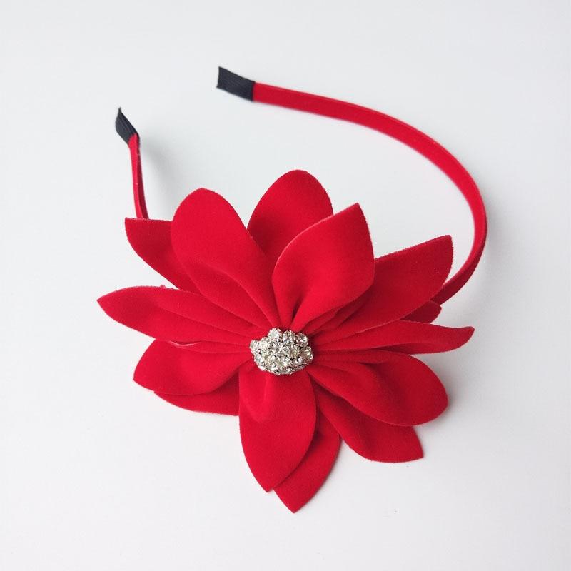 Girls' Clothing Reasonable Big Size Felt Flower Hair Band Velvet Hairband Red Color Bezel/hair Hoop Rhinestone Headband Hair Accessories For Girls #70626 Hair Accessories