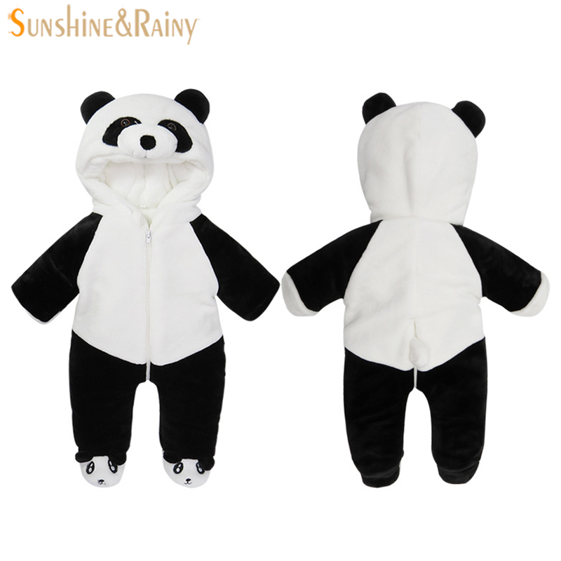 2017 Infant Romper Baby Boys Cute Panda Rompers Girls Jumpsuit New Born Bebe Clothing Hooded Toddler Baby Clothes Baby Costumes
