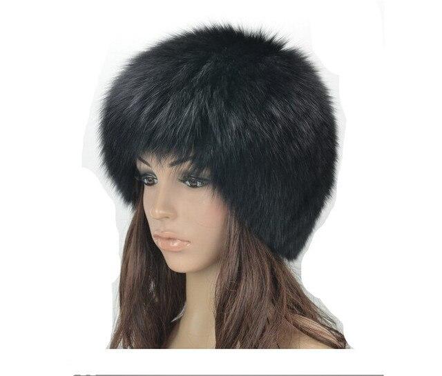 c474d3fa2dafb New Real Fur Hat Knitted Fox Fur Hat Women Winter Warm Female Silver Fox  White Fox