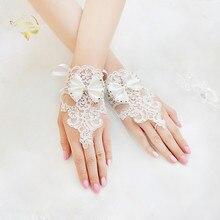 White Beige Lace Gloves Fingerless Beaded Wrist Length Bridal Accessoire Mariage Woman Bride Guante Novia 2019 New