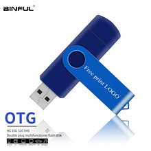 OTG Usb Flash Drive Usb 2.0 Metal Pen Drive 4gb 8gb 16gb 32gb 64gb 128gb Pendrive For Tablet/PC Free Custom Logo Usb Stick Gift цена и фото