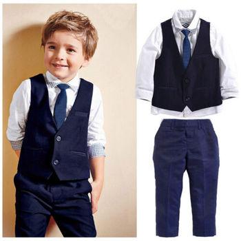 df00784f4621 2019 niños bebés traje de esmoquin Blazers camisa chaleco pantalones ...