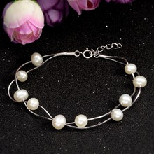 Bella Fashion 925 Sterling Silver Bridal Bracelet Ivory Pearl Bracelet For Women Wedding Party Jewelry Valentine Mother's Gift