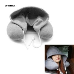 UFRIDAY New Soft Hooded U-Shape Neck Travel Pillow with Hat Neck Pillow Travel Office Nap Car Airplane Sleep Travel Neck Cushion