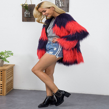 De moda de calle de imitación abrigos de piel para las mujeres con piel borlas nuevo otoño Slim abrigos doble cara de piel abrigos precio barato